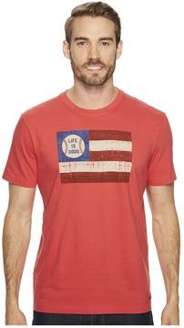Life is Good Baseball Flag Crusher Tee Men's Short Sleeve Pullover