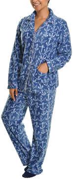 Angelina Blue Anchor Fleece Pajama Set - Women