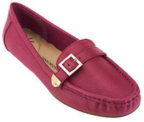 Isaac Mizrahi Live! Pebble Leather Moccasins w/Buckle Detail