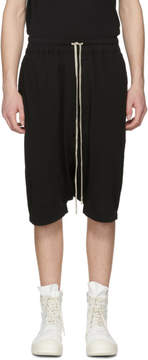 Rick Owens Black Drawstring Pods Shorts