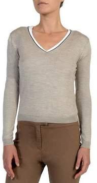 Eleventy V-Neck Wool-Blend Sweater