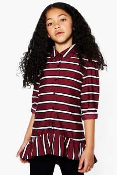 boohoo Girls Stripe Ruffle Shirt