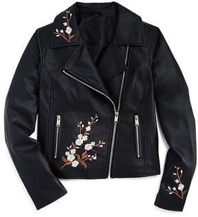Aqua Girls' Faux-Leather Embroidered Moto Jacket, Big Kid - 100% Exclusive