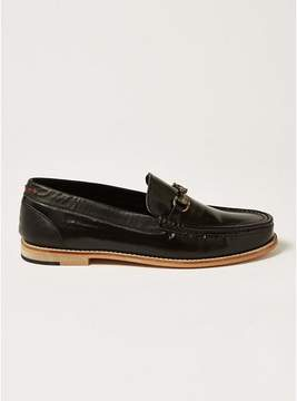 Topman Mens Black Hi Shine Leather 'Averly' Snaffle Loafers