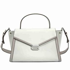 Michael Kors Whitney Large Leather Satchel- Alumin/ Pearl Grey
