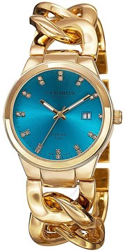 Akribos XXIV Turquoise Dial Gold-tone Base metal Ladies Watch