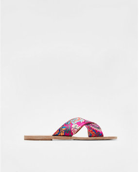 Express floral brocade crisscross sandals