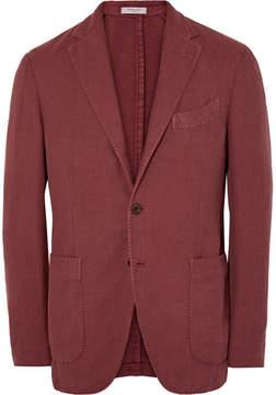 Boglioli Brick Slim-Fit Cotton And Linen-Blend Hopsack Blazer