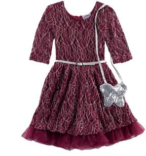 Knitworks Girls 4-6x Lace Dress & Purse Set