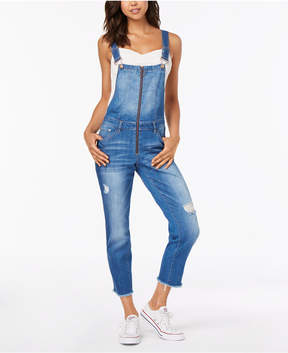 Dollhouse Juniors' Ripped Skinny Overalls