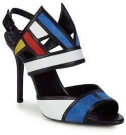 Aperlaï Colorblocked Leather Ankle-Strap Sandals