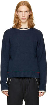 3.1 Phillip Lim Navy Plaited Boxy Sweater