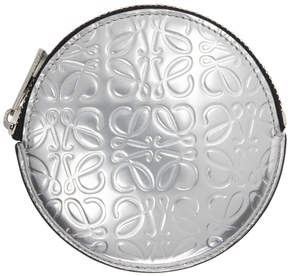 Loewe Silver Anagram Cookie Zip Coin Pouch