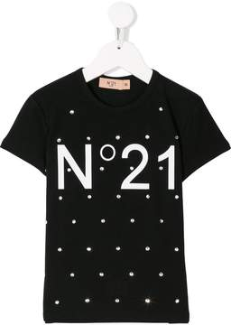 No.21 Kids embellished logo print T-shirt