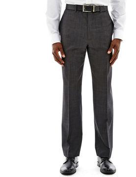 Claiborne Charcoal Herringbone Flat-Front Stretch Suit Pants - Classic Fit