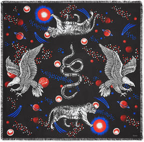 Space Animals print silk scarf