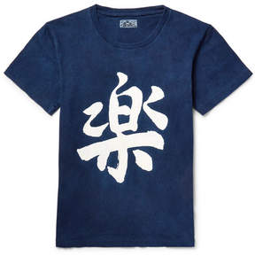 Blue Blue Japan Printed Indigo-Dyed Cotton-Jersey T-Shirt