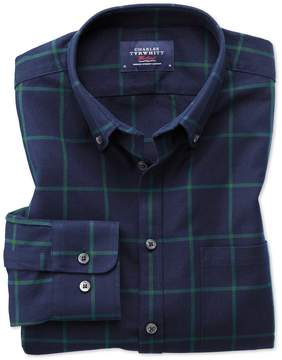 Charles Tyrwhitt Extra Slim Fit Button-Down Washed Oxford Navy Blue and Green Check Cotton Casual Shirt Single Cuff Size XS