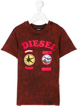 Diesel stone washed badge T-shirt
