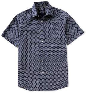 Daniel Cremieux Big & Tall Medallion Print Short-Sleeve Woven Shirt