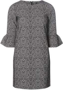 Dorothy Perkins Black and Ivory Herringbone Print Shift Dress