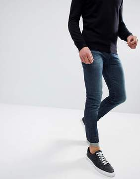 Benetton Skinny Jean In Mid Wash Blue With Stretch