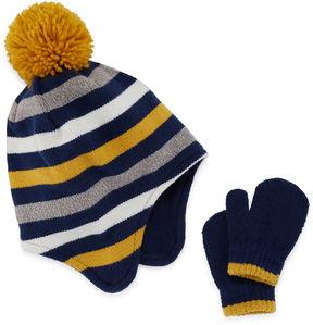 Cuddl Duds Toddler Striped Hat & Mitten Set