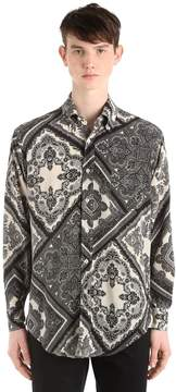 Etro Caftan Printed Fluid Silk Shirt