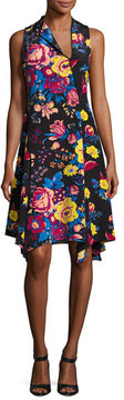 Diane von Furstenberg Sleeveless Bias-Cut Floral-Print Silk Dress, Black Pattern