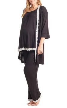 Everly Grey Women's Carina Maternity/nursing Pajamas & Robe Set