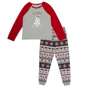 Cuddl Duds Girls 4-16 Family Jammies Little Bear Top & Fairisle Bottoms Pajama Set