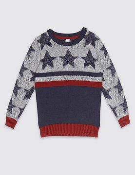 Marks and Spencer Pure Cotton Star Print Jumper (3 Months - 5 Years)