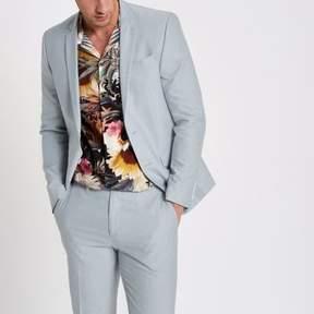 River Island Mens Light blue skinny fit Oxford blazer