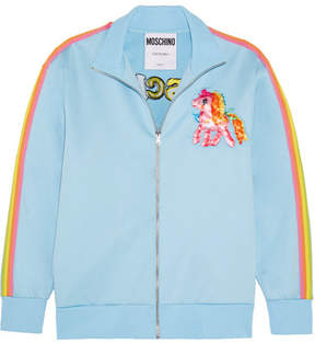 Moschino My Little Pony Embroidered Cotton-blend Jersey Sweatshirt - Light blue