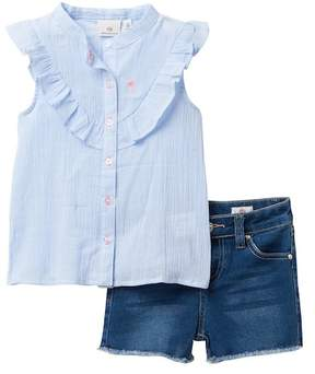 AG Jeans Woven Striped Top with Shorts (Toddler Girls)