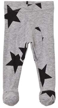 Nununu Heather Grey Star Print Footed Leggings