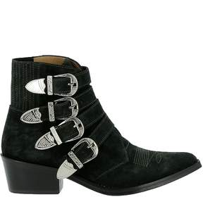 Toga Pulla Aj006 Green Suede Ankle Boots