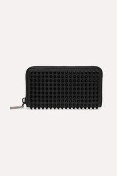Christian Louboutin - Panettone Spiked Textured-leather Wallet - Black