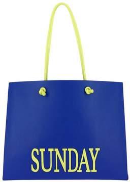 Alberta Ferretti Shoulder Bag Large Shopping Bag In Leather With Maxi Written Rainbow Week Sunday
