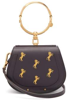 Chloé Nile Horse Embroidered Leather Cross Body Bag - Womens - Navy Multi