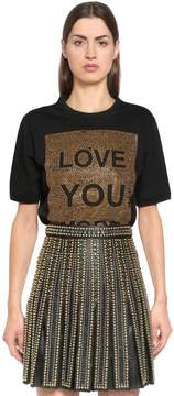 Elie Saab Love You More Embellished Jersey T-Shirt