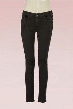 7 For All Mankind Skinny cropped jeans with distressed knees