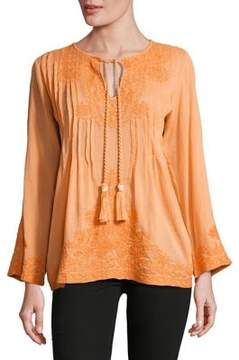 Context Open Neck Embroidered Cotton Tunic