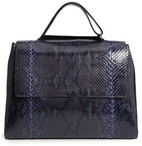 Orciani Large Sveva Diamond Genuine Python Top Handle Satchel - Blue