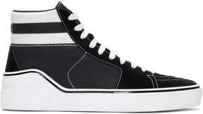 Givenchy Black Suede and Canvas Mid-Top Sneakers