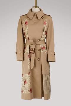Alexander McQueen Floral patch trench coat