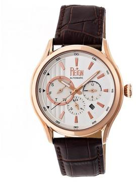 Reign Gustaf Collection Men's Automatic Leather and Stainless Steel Watch