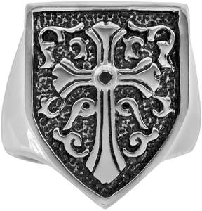 Black Diamond Kohl's Stainless Steel & Black Immersion-Plated Stainless Steel Accent Cross & Shield Ring - Men