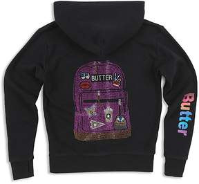 Butter Shoes Girls' Zip-Up Hoodie with Rhinestone Backpack Design - Big Kid