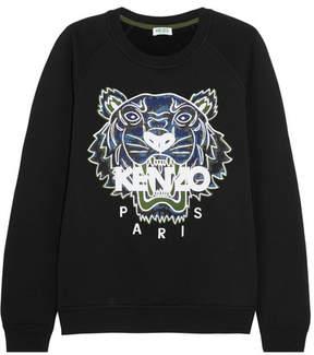 Kenzo Tiger Appliquéd Cotton-jersey Sweatshirt - Black